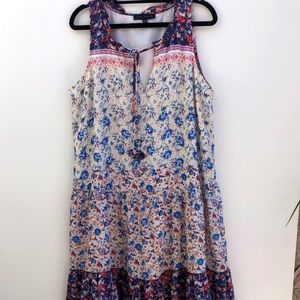 Sanctuary sleeveless floral ruffle hem dress L